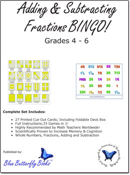 photograph about Printable Fractions Games called Including and subtracting fractions BINGO! Printable Simple